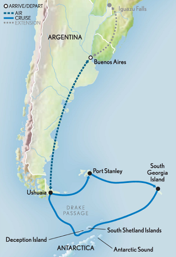 Map for Antarctica, South Georgia & the Falkland Islands