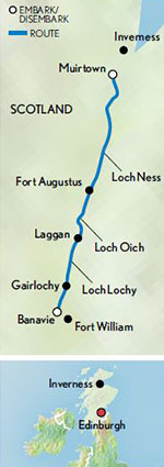 Map for 'Spirit of Scotland' - Caledonian Canal & Loch Ness