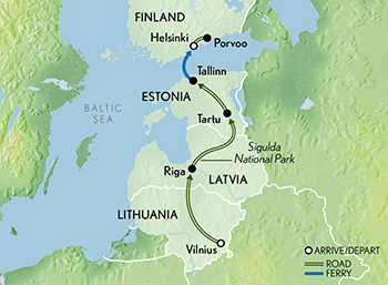 Map for The Baltics & Helsinki