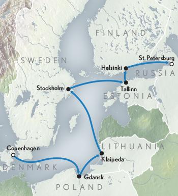 Map for Cruising the Baltic Sea: Copenhagen to St. Petersburg