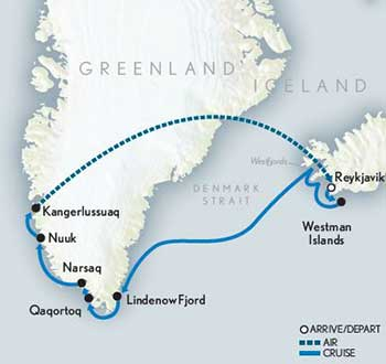 Map for Ultimate Iceland & Greenland Cruise