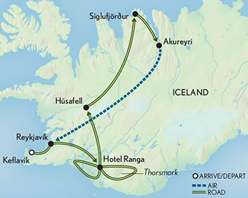 Map for Iceland: Geysers & Glaciers