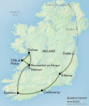 Map for Ireland: Splendors of the Emerald Isle