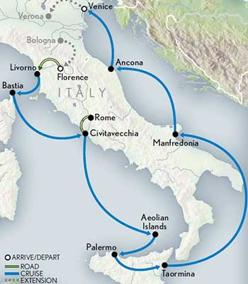 Map for Italy Cruise: Hidden Treasures from Florence to Venice