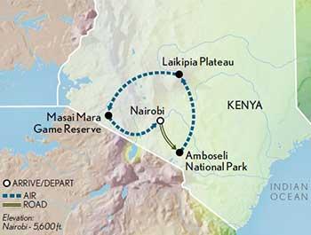Map for Kenya Safari in Style