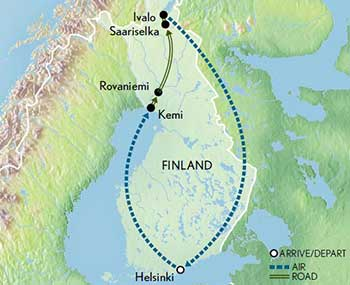 Map for Northern Lights of Lapland