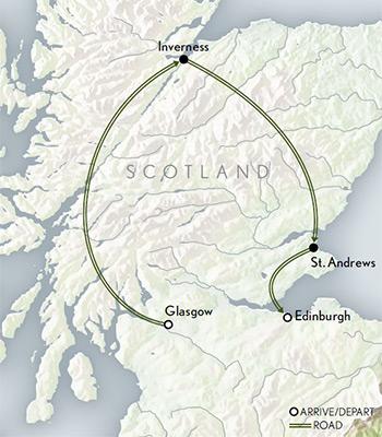 Map for Scotland: Edinburgh & the Highlands
