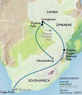 Map for South Africa & Victoria Falls