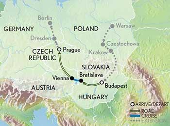 Map for Splendors of Budapest, Vienna & Prague