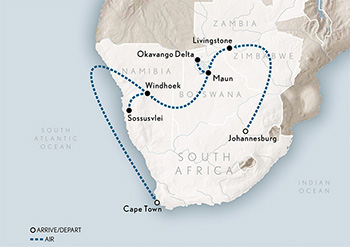 Map for Wings Over Southern Africa