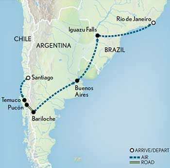 Map for Wonders of Chile, Argentina & Brazil