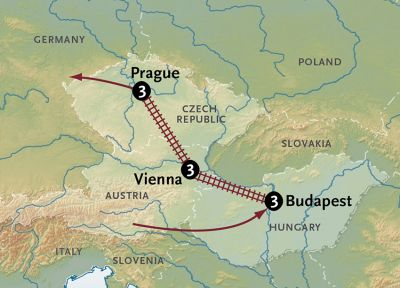 Map for Gems of Central Europe by Rail
