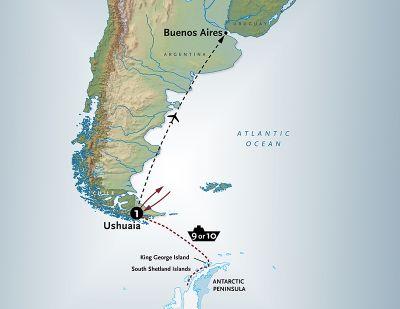 Map for Antarctica aboard the classic <i>mv Ushuaia</i> - 11 Day Adventure