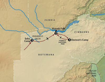 Map for Wild + Wonderful Southern Africa: Botswana, Zimbabwe + Victoria Falls (2020 Itinerary)