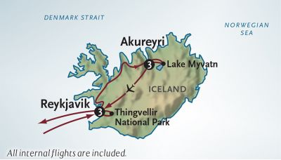 Map for Adventures Across Iceland (2020 Itinerary)