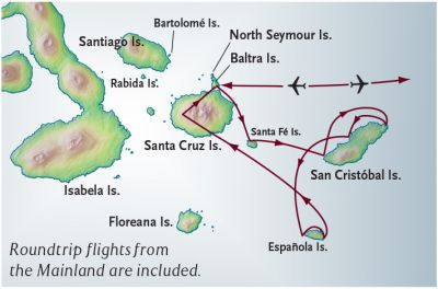 Map for Eastern Galapagos Cruise + Quito