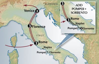 Map for Italy By Rail (9 Day Program)