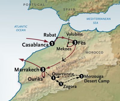 Map for The Magic of Morocco (2020 Itinerary)