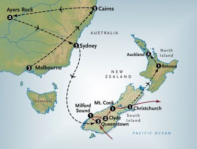 Map for Spectacular New Zealand