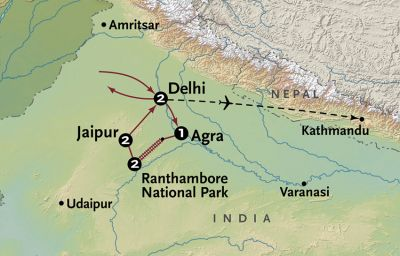 Map for Wild + Wonderful India (2020 Itinerary)