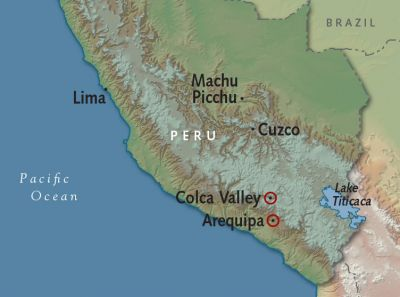 Map for Arequipa + Colca Canyon