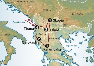 Map for Ancient Crossroads: Albania, Greece + Macedonia
