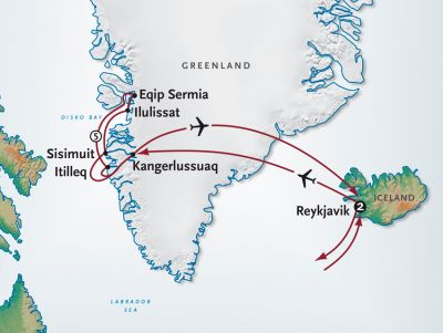 Map for Greenland and Disko Bay by Small Ship