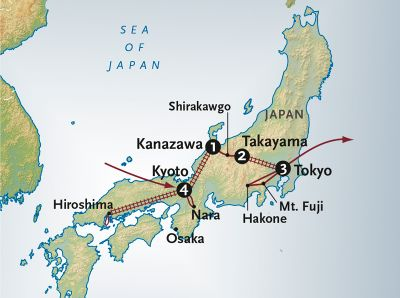 Map for From Japan's Inland Sea to the Alps (2019 Itinerary)