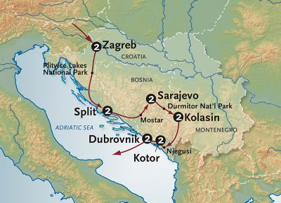 Map for Journey to Croatia + Montenegro (2019 Itinerary)