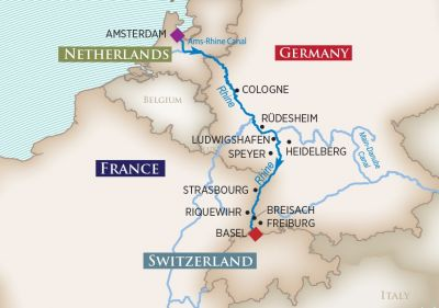 Map for Captivating Rhine (Amsterdam to Basel)