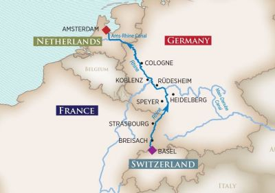 Map for Enchanting Rhine (Basel to Amsterdam)