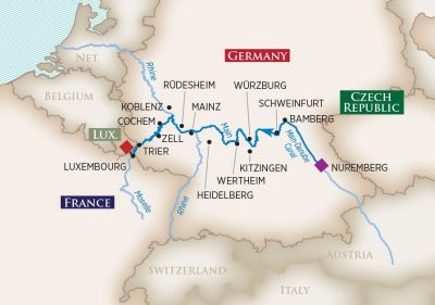 Map for Europe's Rivers & Castles (Nuremberg to Luxembourg)