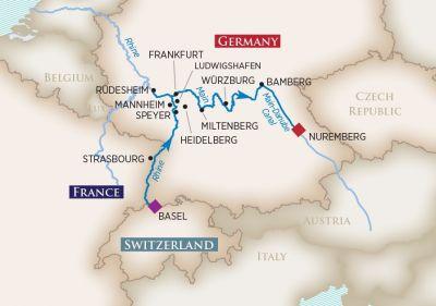 Map for Medieval Treasures (Basel to Nuremberg)