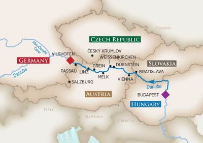 Map for Melodies of the Danube (Budapest to Vilshofen)
