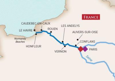 Map for Paris & Normandy