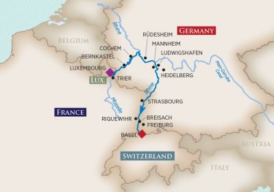 Map for Rhine & Moselle Splendors (Luxembourg to Basel)