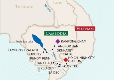 Map for Riches of the Mekong (Kampong Cham to Ho Chi Minh City)