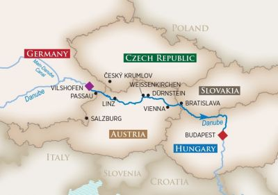 Map for Romantic Danube (Vilshofen to Budapest)