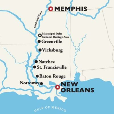 Map for Memphis to New Orleans — Antebellum South 2019 (American Queen)