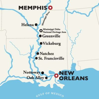 Map for New Orleans to Memphis — Antebellum South 2019 (American Queen)