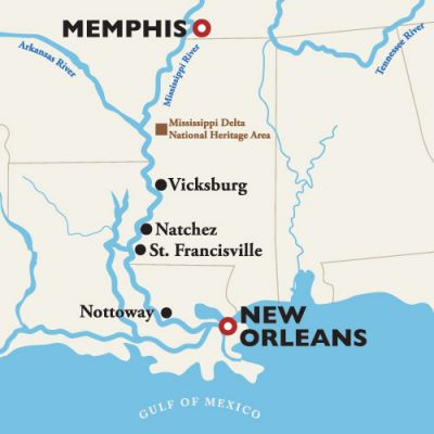 Map for New Orleans to Memphis — Holiday - Christmas Markets 2018 (American Queen)