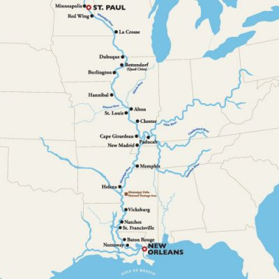 Map for St. Paul to New Orleans — The Mighty Mississippi 2019 (American Duchess)