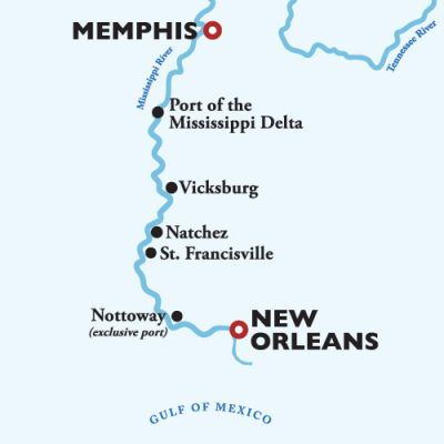 Map for New Orleans to Memphis 8-Day Sailing — Antebellum South 2020 (American Countess)