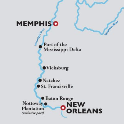 Map for Memphis to New Orleans —  2021 (American Duchess)