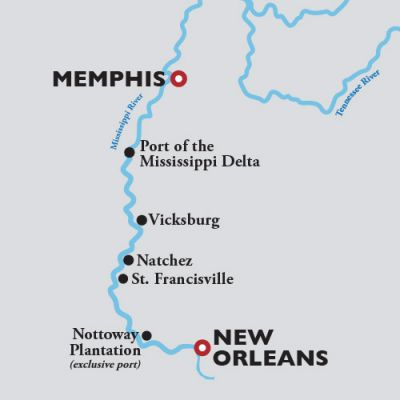 Map for New Orleans to Memphis —  2021 (American Duchess)