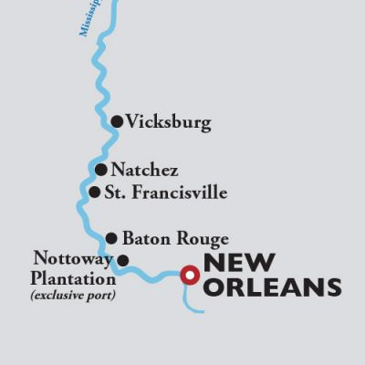 Map for Roundtrip New Orleans (6 days) —  2021 (American Countess)
