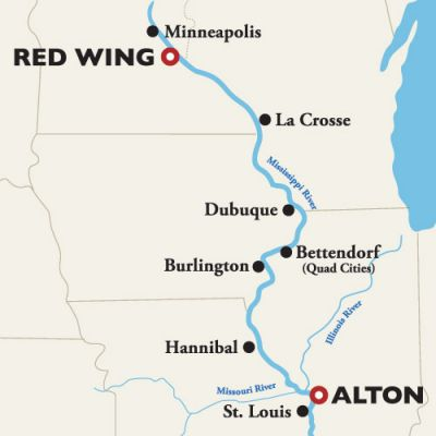 Map for Red Wing (Minneapolis) to Alton (St. Louis) — Mark Twain's Mississippi 2019 (American Queen)