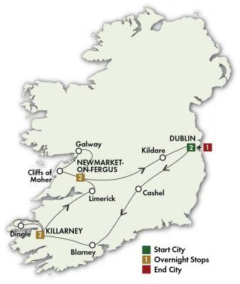 Map for Best of Ireland South - Dublin/Dublin 2019 (8 days)