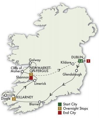 Map for Best of Ireland South - Dublin/Dublin 2019 (7 days)