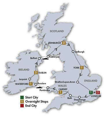 Map for Essence of Britain & Ireland - London/London 2020 (11 Days)
